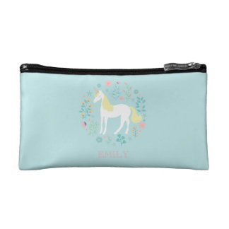 Pretty Unicorn & Flowers Aqua Personalized Makeup Bag