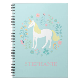 Pretty Unicorn & Flowers Aqua Personalized Notebook