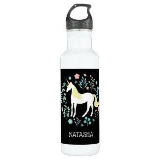 Pretty Unicorn & Flowers Black Personalized 710 Ml Water Bottle