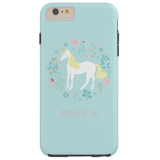 Pretty Unicorn & Flowers Personalised Tough iPhone 6
