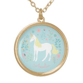 Pretty Unicorn & Flowers Personalized Gold Plated Necklace