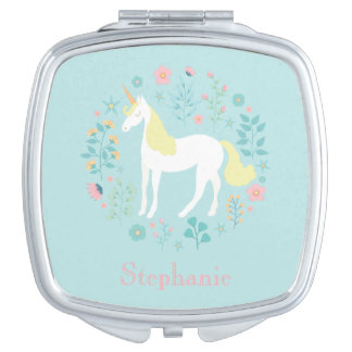 Pretty Unicorn & Flowers Personalized Makeup Mirrors