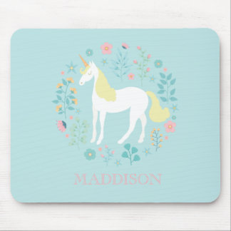 Pretty Unicorn & Flowers Personalized Mouse Mat