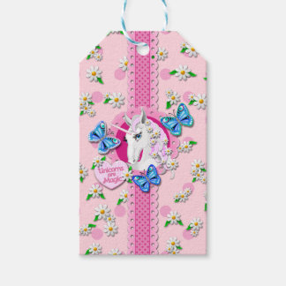 Pretty Unicorn in Pink with Polka Dots Tags