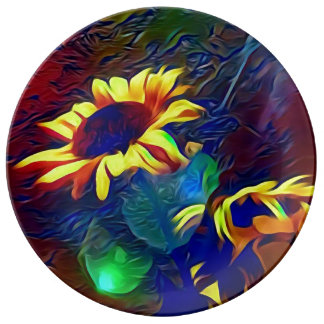 Pretty Vibrant Artistic Sunflowers Plate