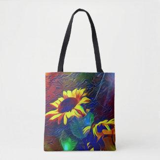 Pretty Vibrant Artistic Sunflowers Tote Bag