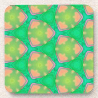 Pretty Vibrant Pastel Peach Modern Geo Pattern Coaster