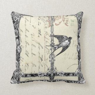Pretty Victorian Vintage Style Bird Pillow