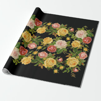 Pretty Vintage Black Floral Pink and Green Wrapping Paper
