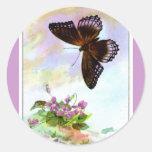 Pretty Vintage Butterfly Classic Round Sticker