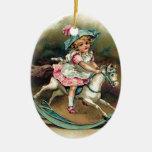 Pretty vintage child on rockinghorse shabbychic ceramic oval decoration