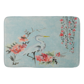 Pretty vintage crane blue  Bathroom mat