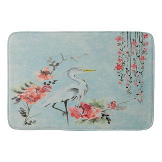 Pretty vintage crane blue  Bathroom mat Bath Mats
