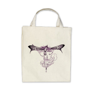 Pretty Vintage Fairy Decal Canvas Bag