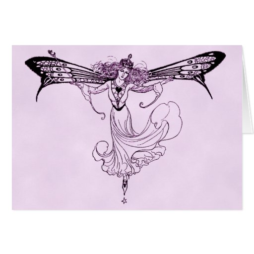 Pretty Vintage Fairy Decal Card