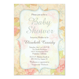 Pretty Vintage Floral Baby Shower Invitation