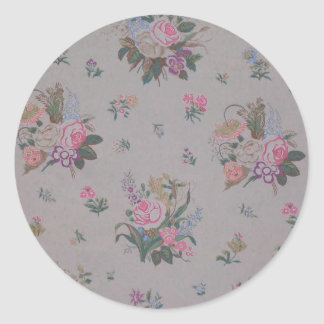 Pretty Vintage Floral Classic Round Sticker
