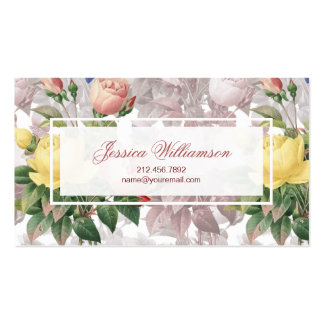 Pretty Vintage Floral Yellow and Pink Roses Pack Of Standard Business Cards
