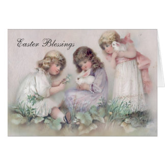Pretty Vintage Girls and Bunnies Easter Card