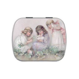 Pretty Vintage Girls With Bunnies Candy Tin