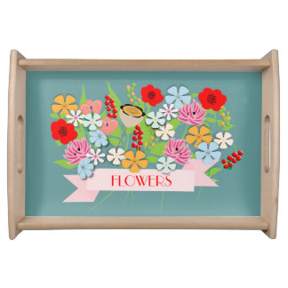 Pretty Vintage Inspired Whimsical Flowers Serving Tray