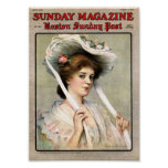 Pretty Vintage Lady on Magazine Cover Poster