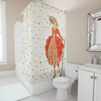 Pretty Vintage lady shower curtain