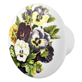 Pretty Vintage Pansy Flowers Ceramic Knob