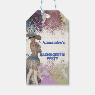 Pretty vintage personalized bachelorette party gift tags