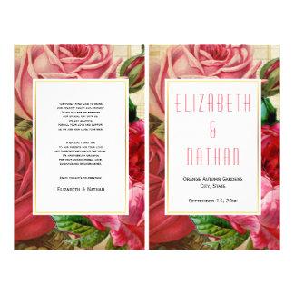 Pretty vintage pink roses folded wedding program 21.5 cm x 28 cm flyer