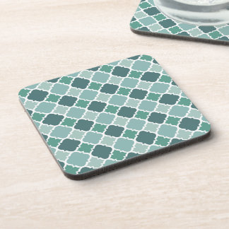Pretty Vintage Quatrefoil Pattern in Muted Green Coasters