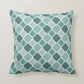 Pretty Vintage Quatrefoil Pattern in Muted Green Throw Pillow