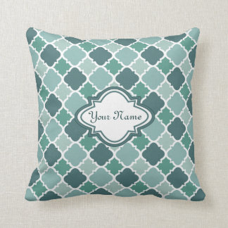 Pretty Vintage Quatrefoil Pattern in Muted Green Throw Pillows