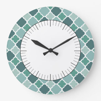 Pretty Vintage Quatrefoil Pattern in Muted Green Large Clock