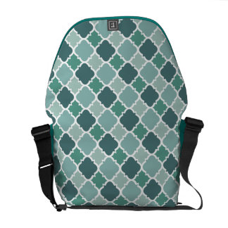 Pretty Vintage Quatrefoil Pattern in Muted Green Messenger Bags
