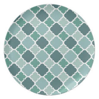 Pretty Vintage Quatrefoil Pattern in Muted Green Party Plate
