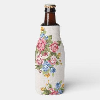 Pretty Vintage Retro Flowers Roses Bottle Cooler