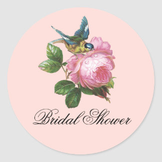 Pretty Vintage Rose Bridal Shower Sticker