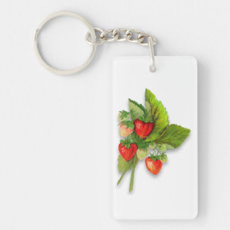 Pretty Vintage Strawberries, Message on Back Key Ring