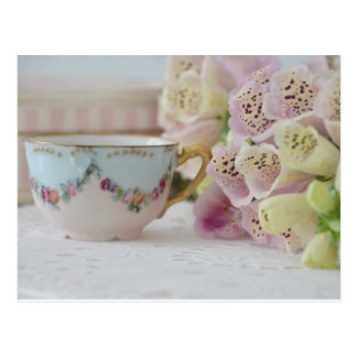 Pretty Vintage Tea Cup and Foxgloves Postcard
