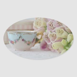 Pretty Vintage Tea Cup Foxgloves Stickers