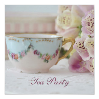 Pretty Vintage Tea Party Invitations