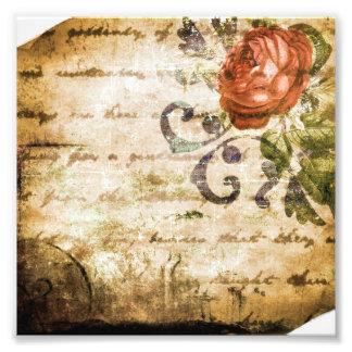 Pretty Vintage Victorian Sepia Rose Parchment Photo Print