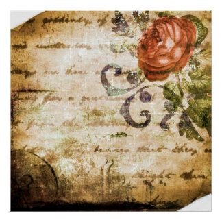 Pretty Vintage Victorian Sepia Rose Parchment Poster