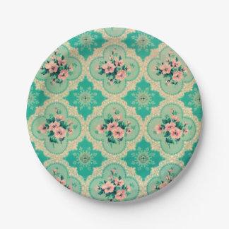 Pretty vintage wallpaper paper plates 7 inch paper plate