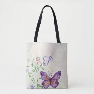 Pretty Vintage Watercolor Butterfly Monogrammed Tote Bag