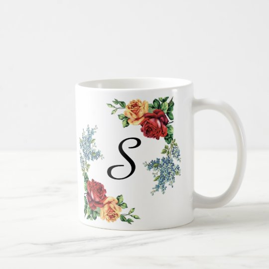 Pretty Vintage Watercolor Roses Monogrammed Coffee Mug