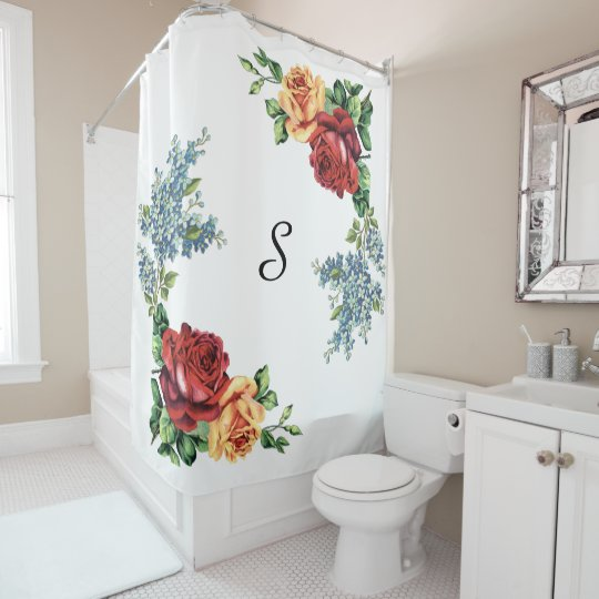 Pretty Vintage Watercolor Roses Monogrammed Shower Curtain