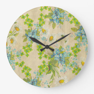 pretty vintage wildflowers large clock