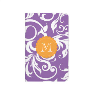 Pretty Violet Purple Orange Floral Swirl Monogram Journal
